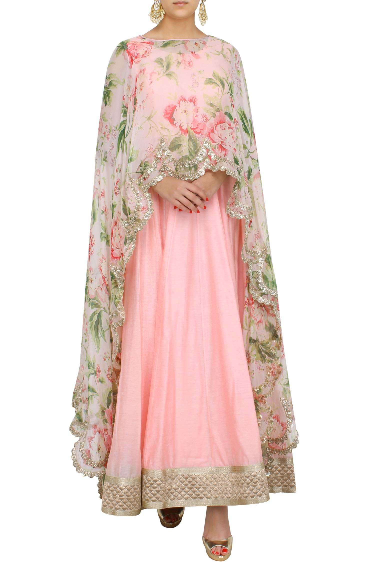 Floral Cape With Anarkali