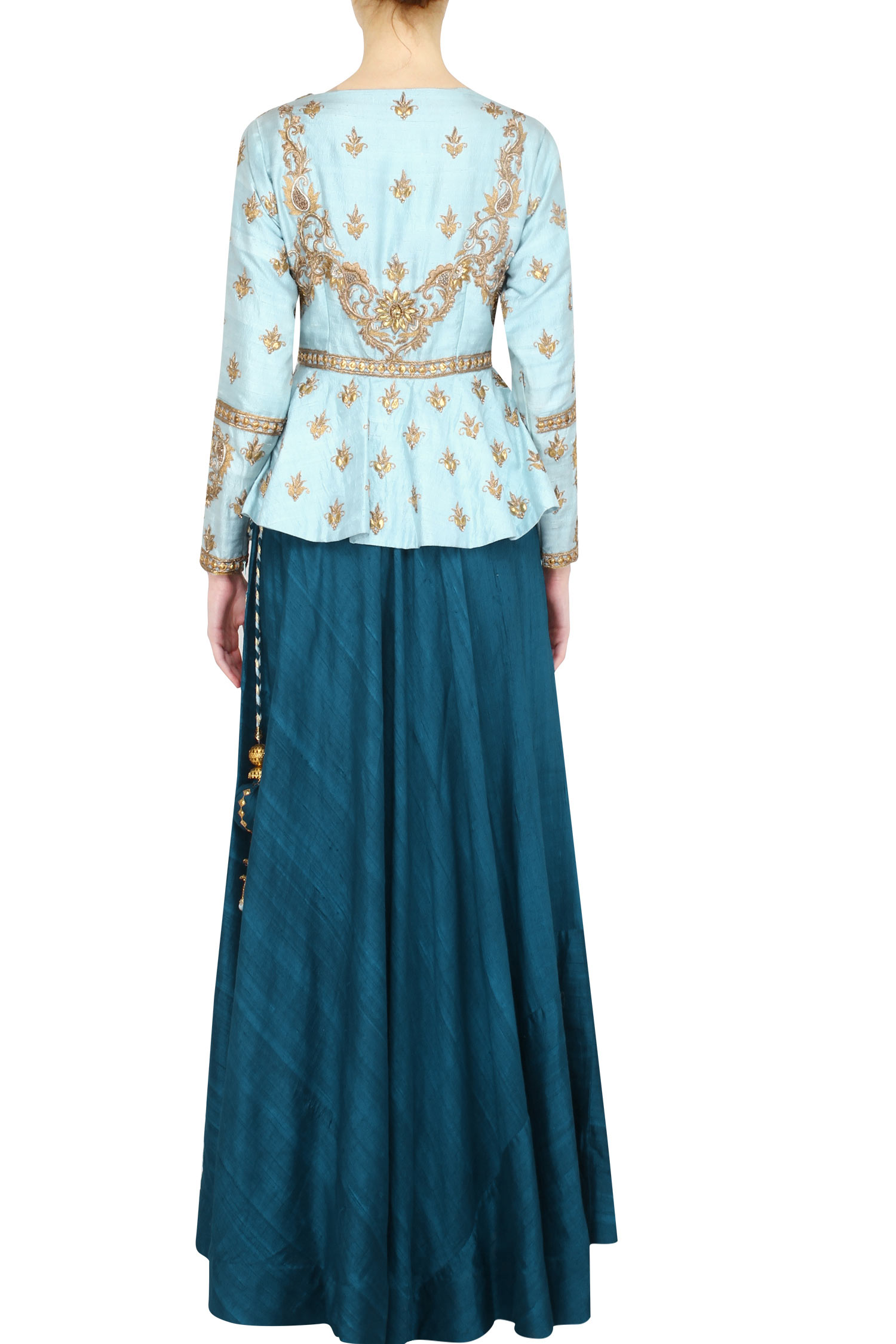 blue peplum teal blue skirt and twisted dupatta