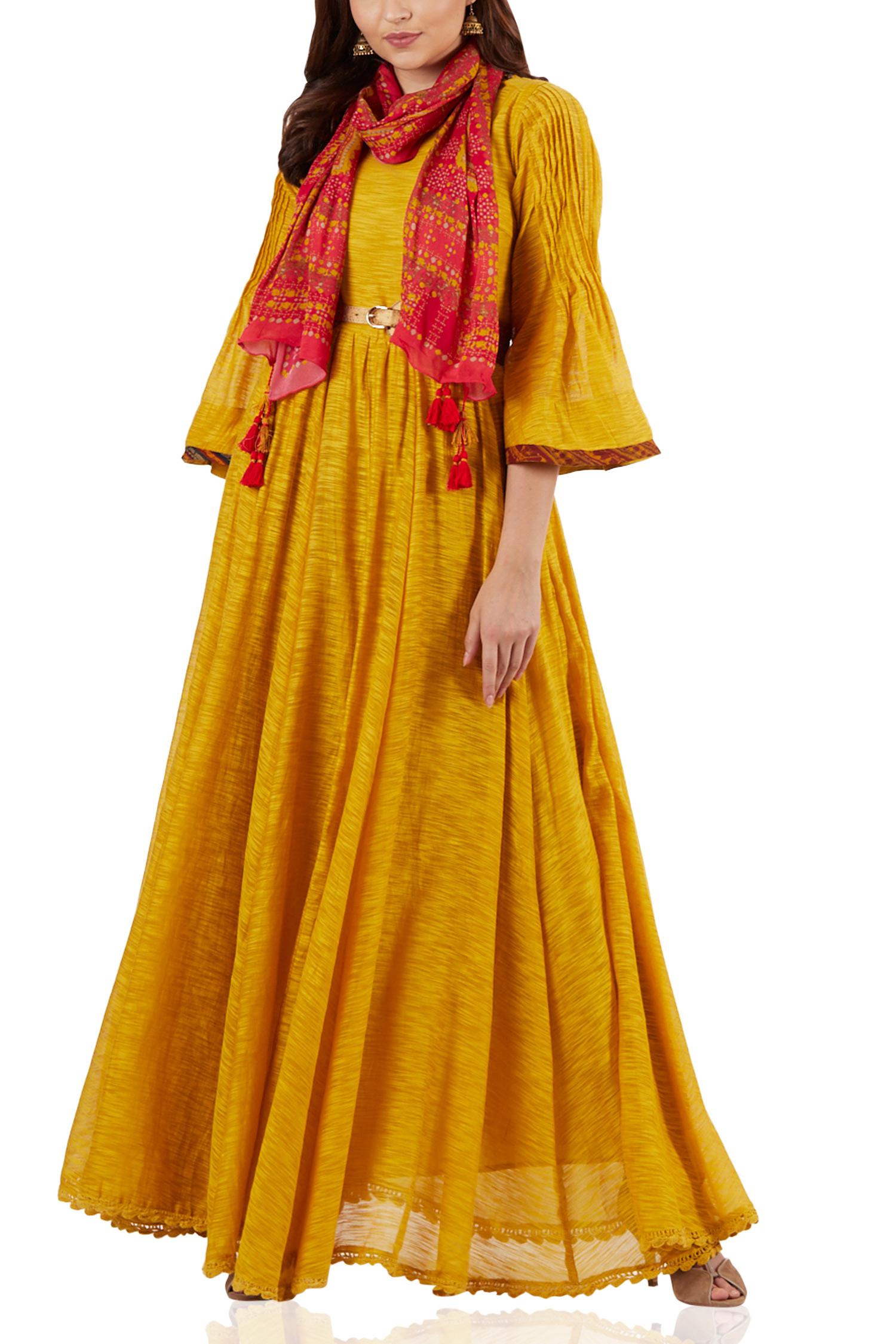 Mustard flowy maxi dress - Ritu Kumar - Designers cd6998a3e