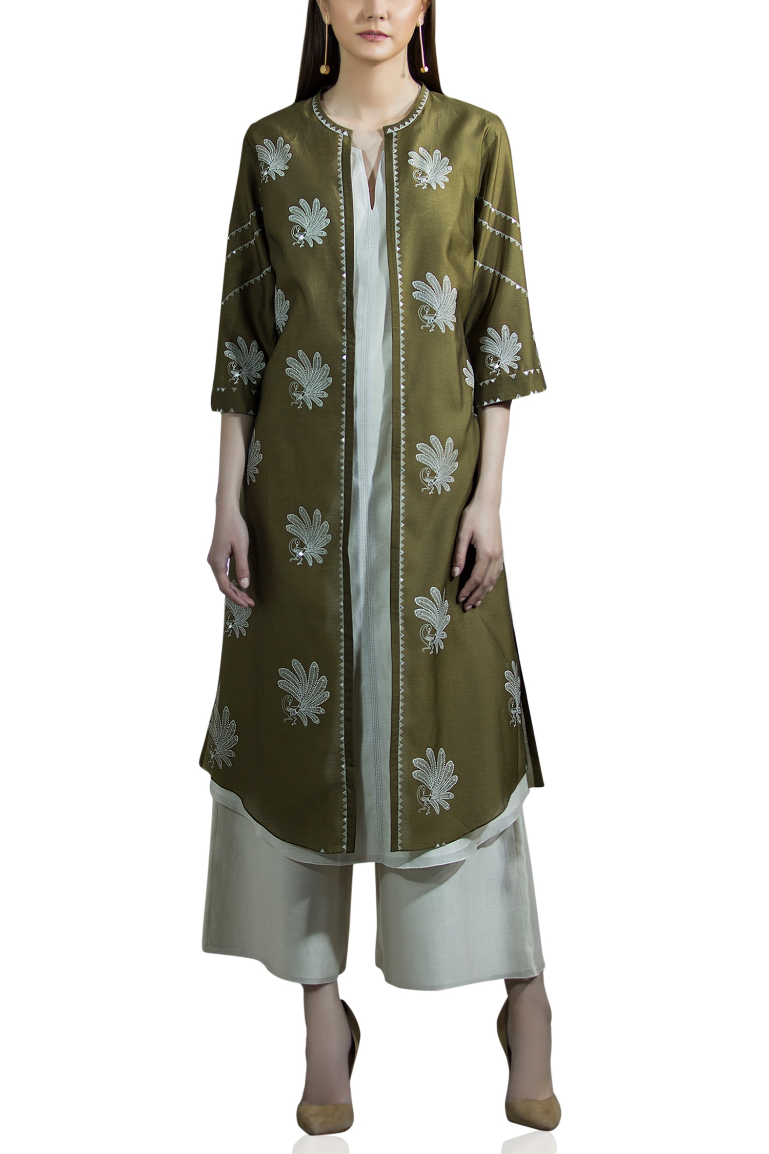Olive Green Motif Jacket Style Kurta With Palazzo Pants New In
