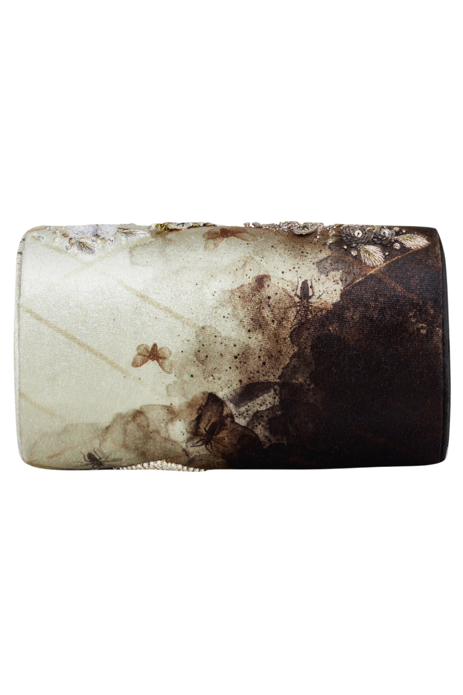 Silver ombre embellished clutch