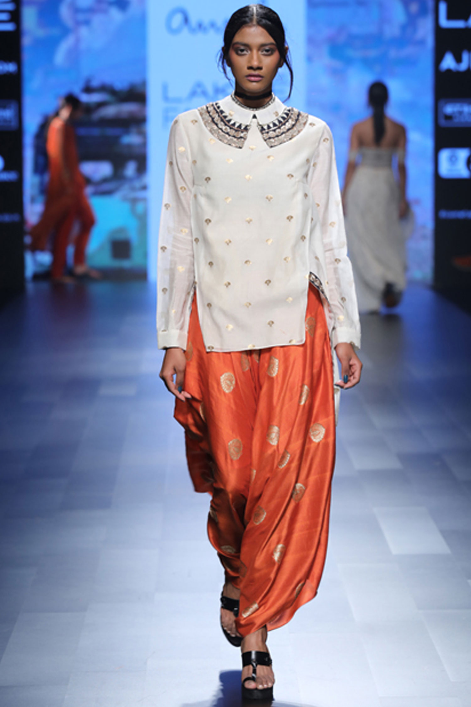 Banarasi silk orange dhoti pants Lakme Fashion Week Spring