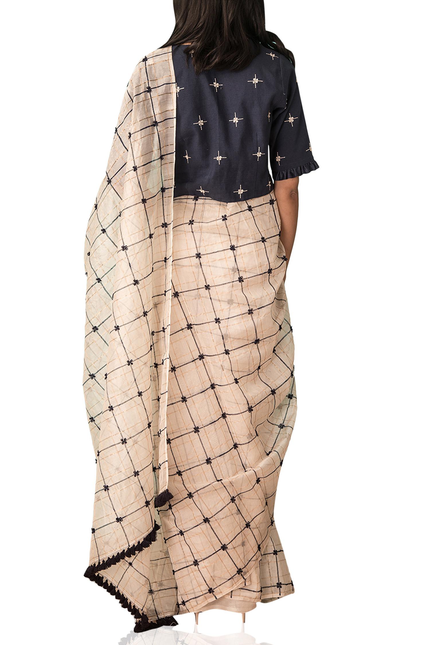 fe82915997f4e4 Zari checkerd sari - Kanelle - Designers