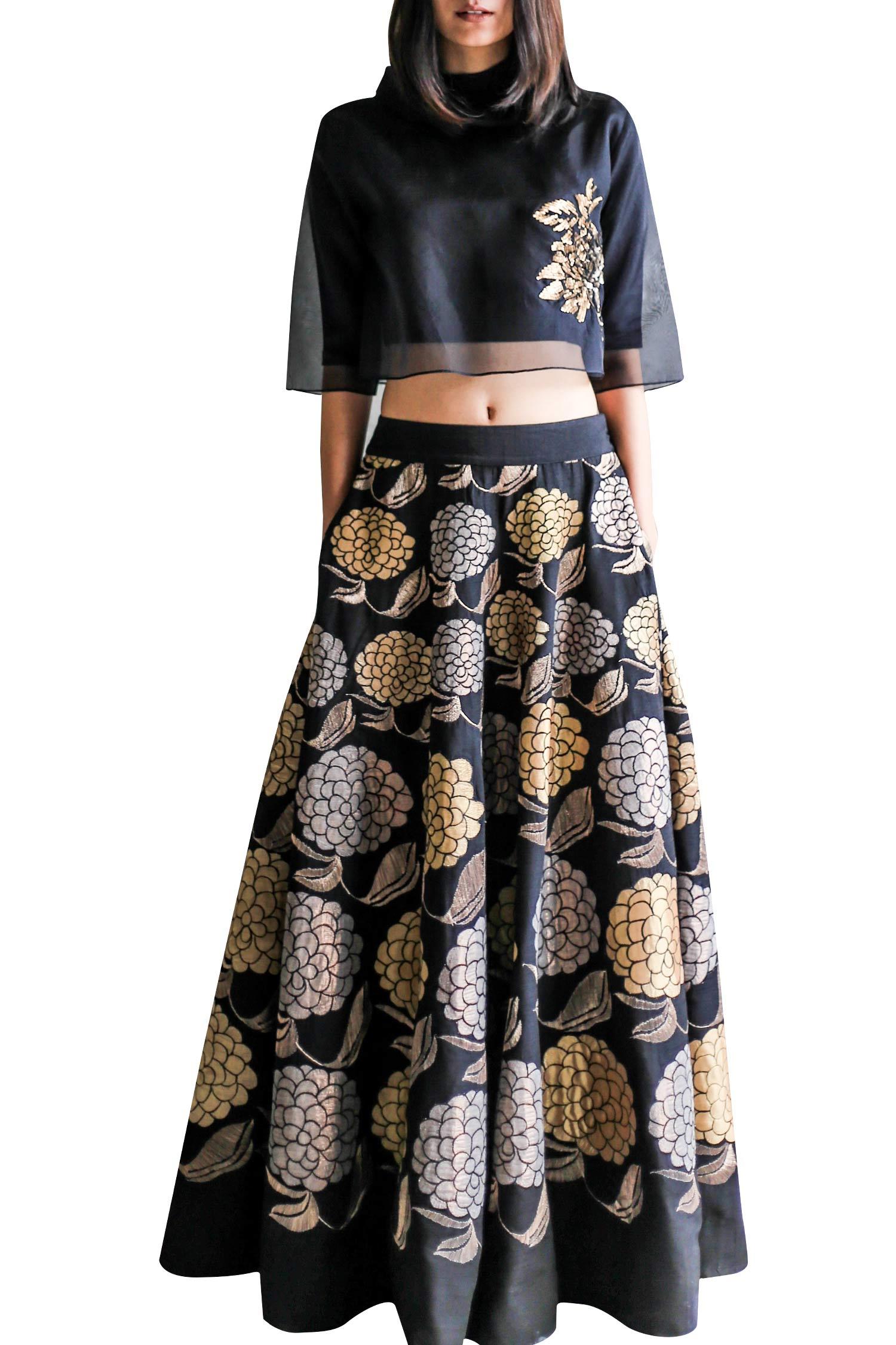 aa8d5574ce Black high waist skirt with organza sequin crop top - Clothing