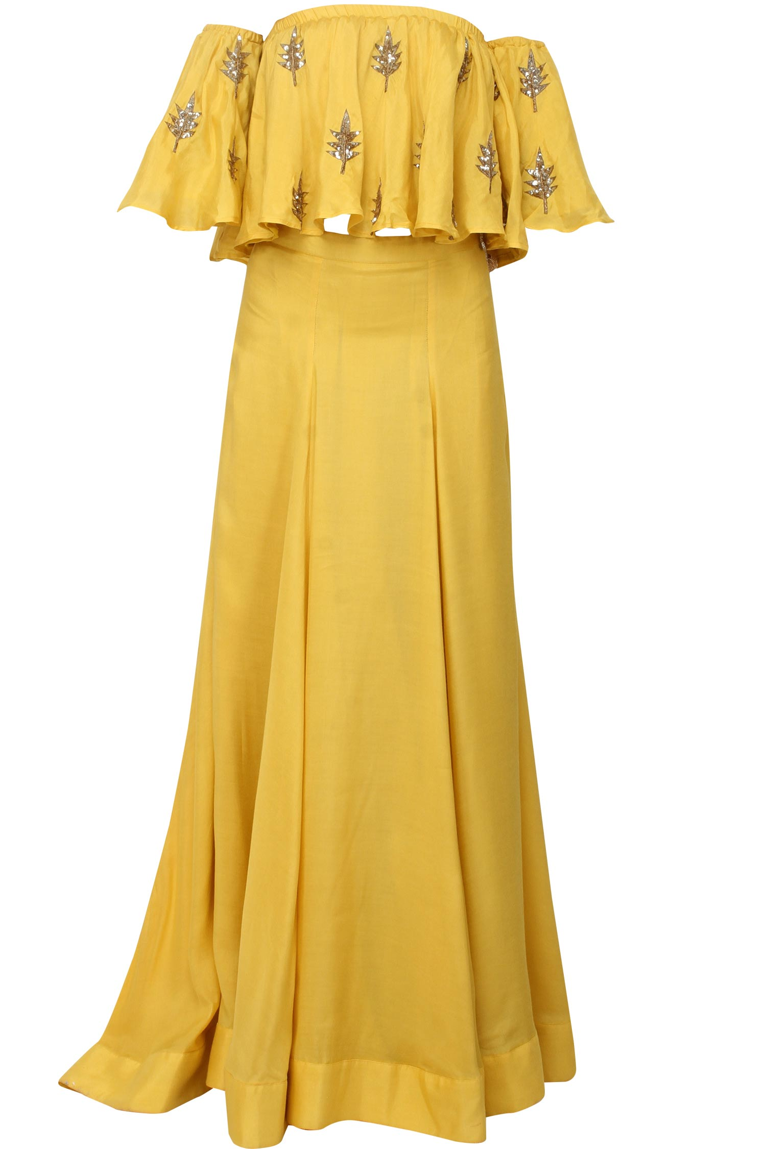 Mustard off shoulder top with lehenga - Clothing