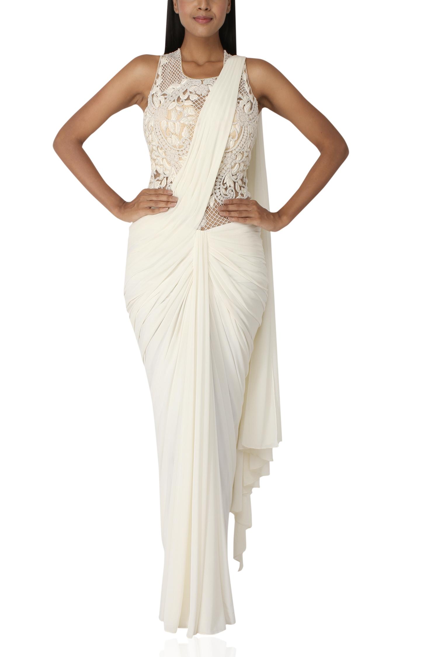 White Sari Gown Sonaakshi Raaj Designers